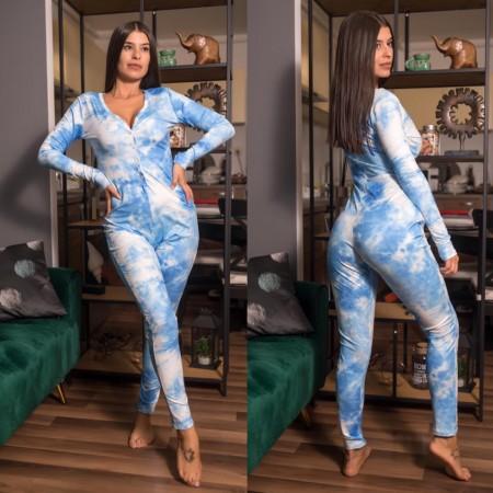 Compleu-salopeta dama albastra cu imprimeu Norisori Pufosi