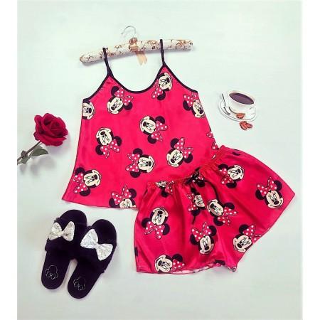 Compleu dama pijama set maiou si pantaloni scurti din satin premium rosu