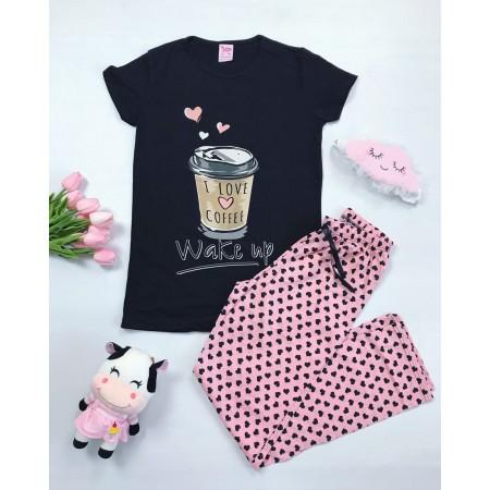 Pijama dama lunga neagra cu imprimeu Coffee cu buline
