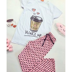 Pijama dama lunga alba cu roz cu imprimeu Coffee