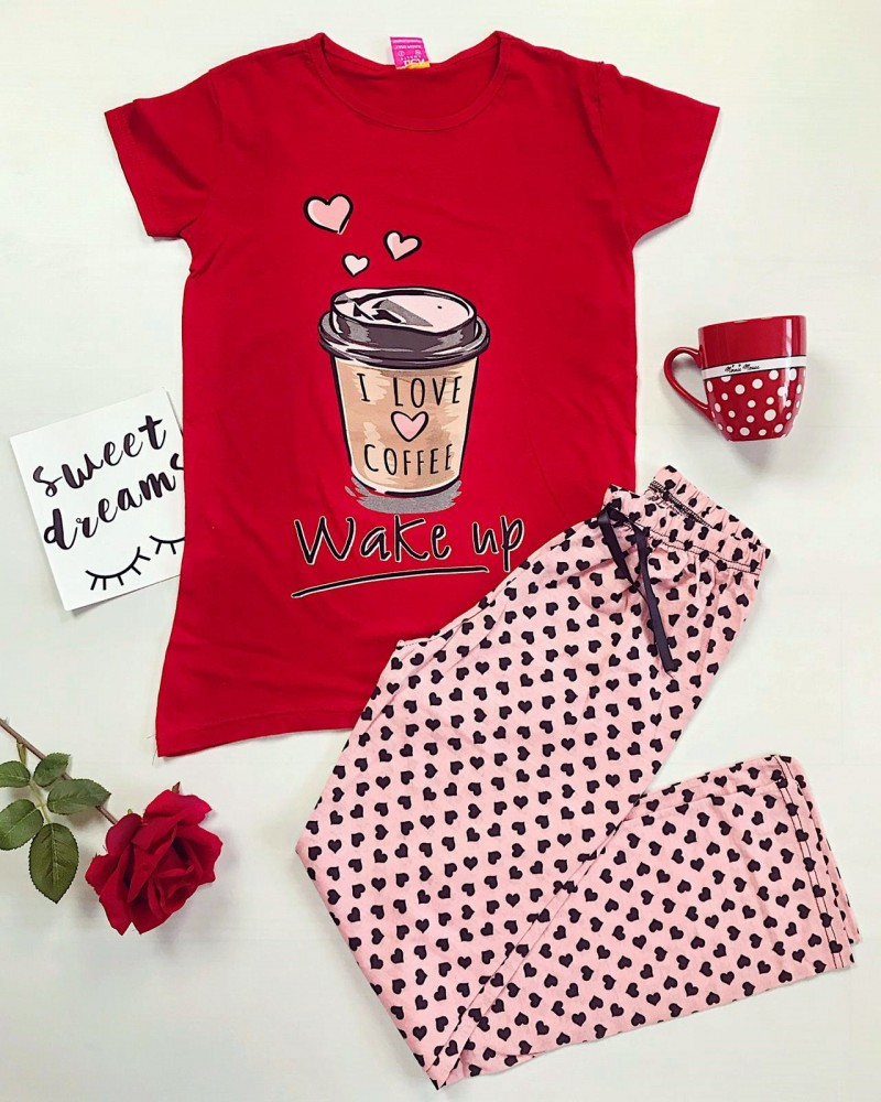 Pijama dama rosie lunga cu imprimeu Coffee si buline