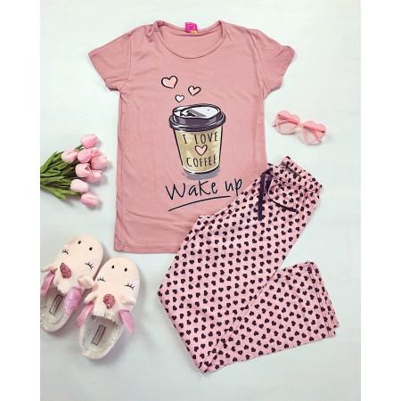 Pijama dama lunga roz cu imprimeu Coffee