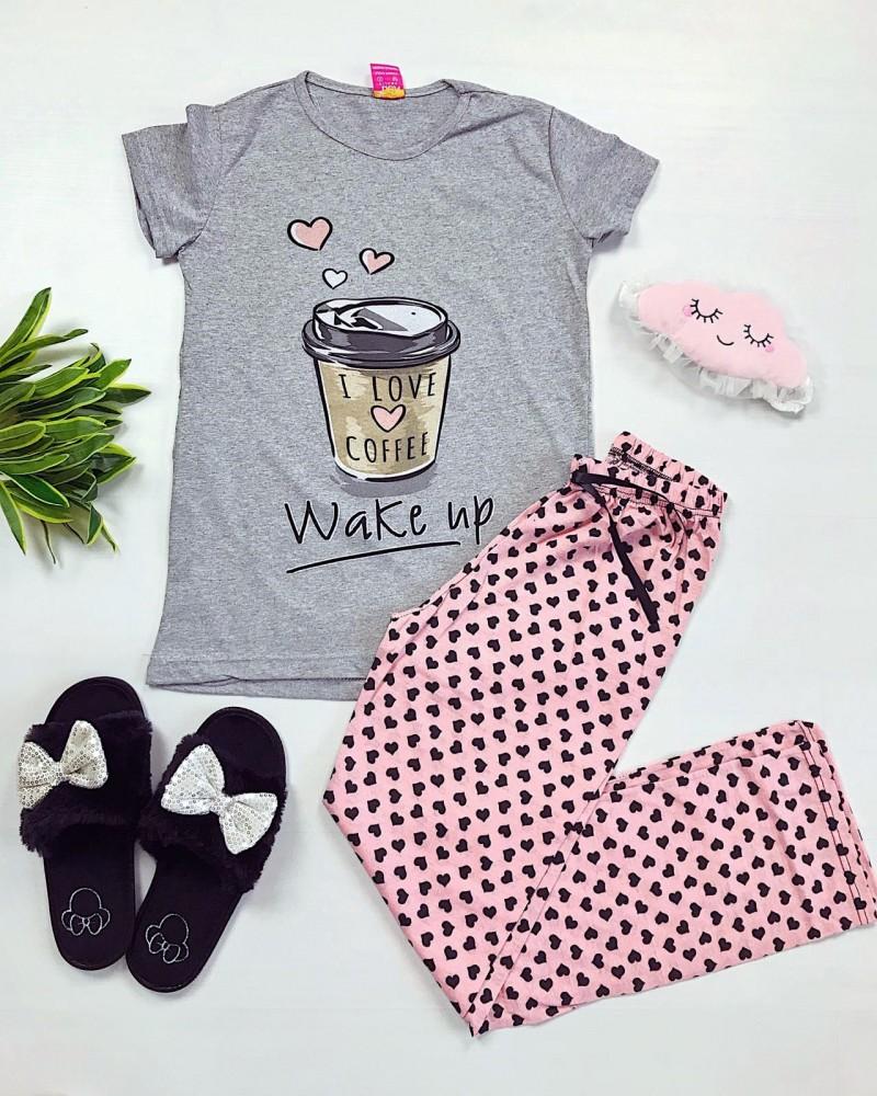 Pijama dama lunga gri cu imprimeu roz Coffee