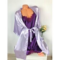 Compleu dama 2 piese din satin cu rochie si halat premium
