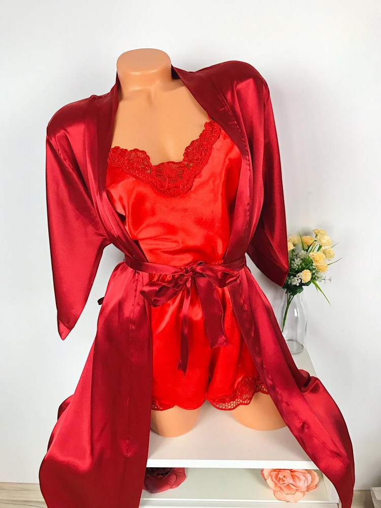 Compleu dama sexy 3 piese din satin de culoare rosie