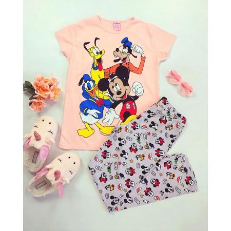 Pijama dama roz lunga cu imprimeu Disney