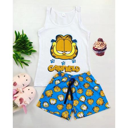 Pijama dama scurta albastra cu imprimeu Garfield
