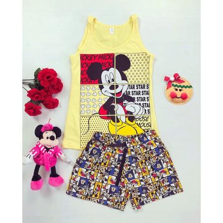 Pijama dama scurta galbena cu imprimeu Mickey