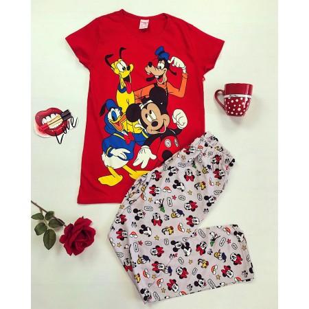 Pijama dama lunga rosie cu imprimeu personaje Disney