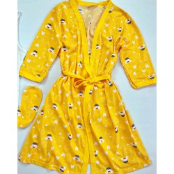 Set dama 3 piese alcatuit din Maieu + pantaloni scurti + halat imprimeu galben
