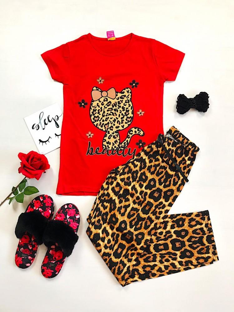 Pijama dama lunga rosie cu imprimeu animal print