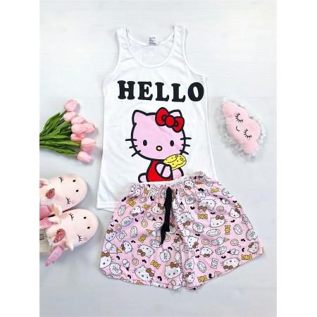 Pijama dama scurta roz cu imprimeu Hello Kitty