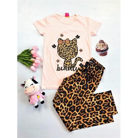 Pijama dama lunga roz cu imprimeu animal print si pisicuta