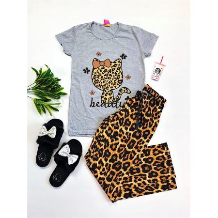 Pijama dama lunga gri cu imprimeu pisicuta animal print