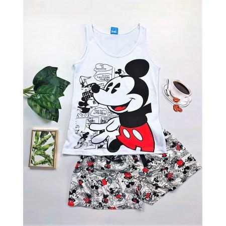 Pijama dama scurta alba din bumbac cu imprimeu Mickey