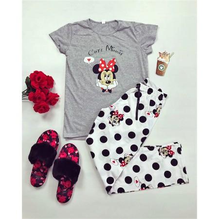 Pijama dama lunga gri cu imprimeu buline Minnie
