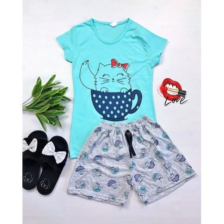 Pijama dama scurta albastra cu imprimeu pisicuta