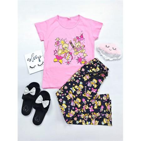 Pijama dama lunga de culoare roz cu imprimeu ursuleti