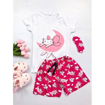 Pijama dama scurta alba cu imprimeu roz pisica