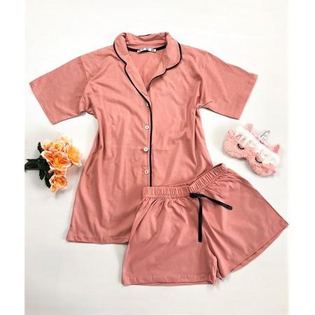Compleu pijama dama roz  cu camasa si pantaloni scurti