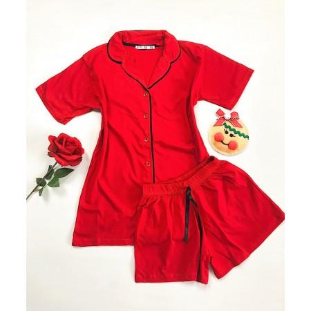 Compleu pijama dama rosu cu camasa si pantaloni scurti