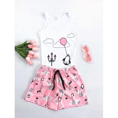 Pijama dama scurta alba cu imprimeu roz pinguin