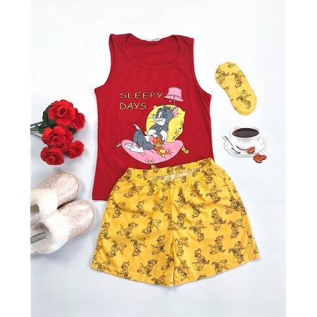 Pijama dama rosie scurta cu imprimeu Tom&Jerry