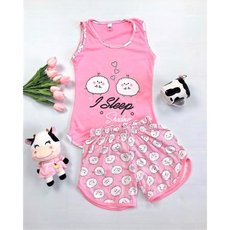 Pijama dama roz scurta cu imprimeu oite