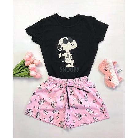 Pijama dama scurta neagra cu roz cu imprimeu Snoopy