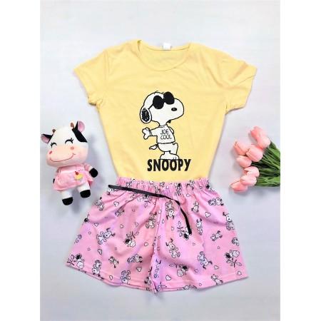 Pijama dama scurta galbena cu imprimeu Snoopy