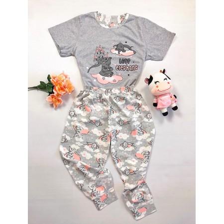 Pijama dama lunga gri cu imprimeu elefantel