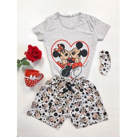 Pijama dama scurta gri cu imprimeu Mickey & Minnie