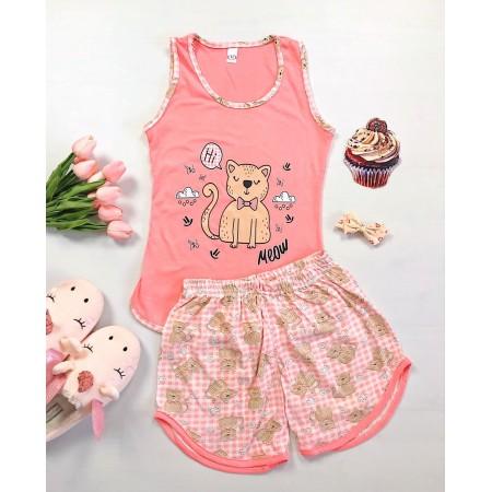 Pijama dama scurta roz cu imprimeu pisicuta