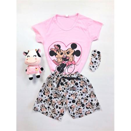 Pijama dama scurta roz cu imprimeu Mickey & Minnie