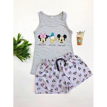 Pijama dama scurta gri cu imprimeu Disney