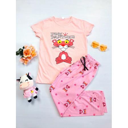 Pijama dama roz lunga cu imprimeu Pantera roz