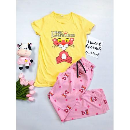 Pijama dama galbena cu imprimeu roz