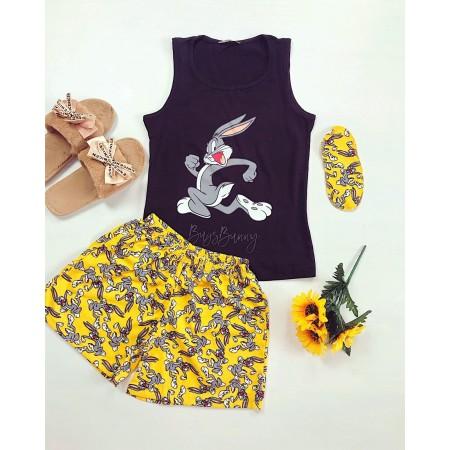 Pijama dama scurta galbena cu imprimeu Bugs Bunny