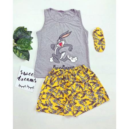 Pijama dama scurta gri cu imprimeu galben Bugs Bunny