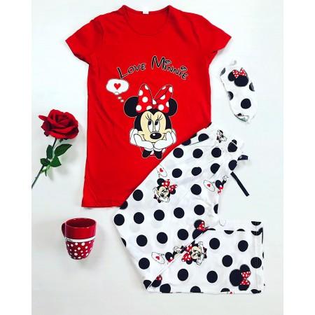 Pijama dama lunga rosie cu imprimeu Minnie