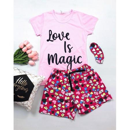 Pijama dama roz scurta cu imprimeu Love is Magic