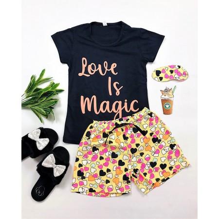 Pijama dama neagra scurta cu imprimeu cool