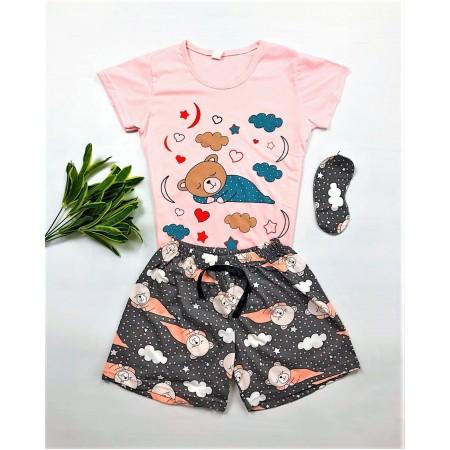 Pijama dama scurta roz cu imprimeu ursulet