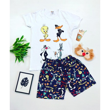 Pijama dama alba scurta cu imprimeu personaje Disney