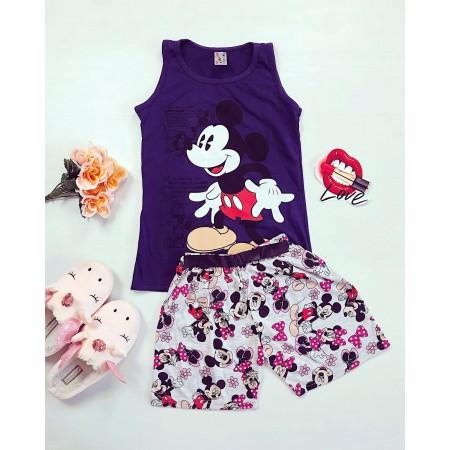 Pijama dama scurta din bumbac cu imprimeu Mickey