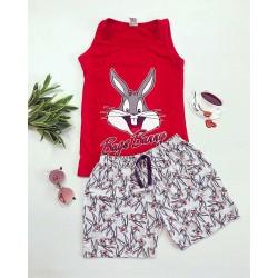 Pijama dama scurta rosie cu imprimeu Bugs Bunny