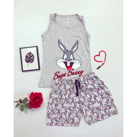 Pijama dama gri de vara cu imprimeu Bugs Bunny