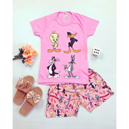 Pijama dama roz scurta cu imprimeu Disney