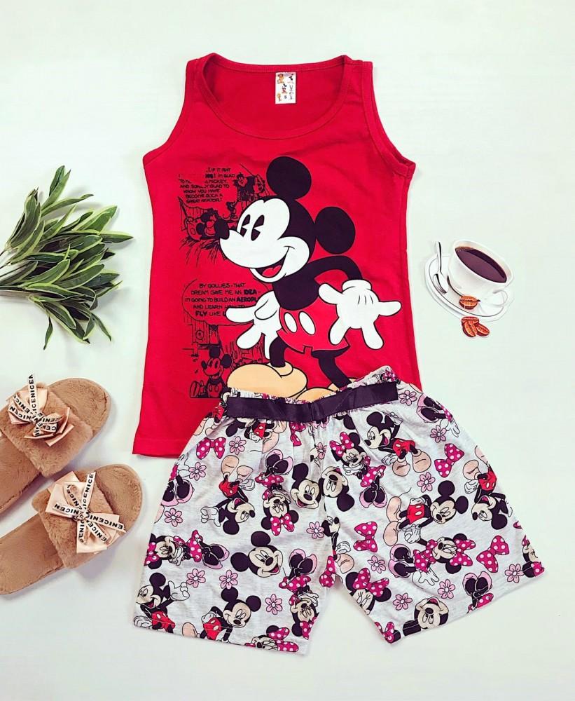 Pijama dama rosie scurta cu imprimeu Mickey