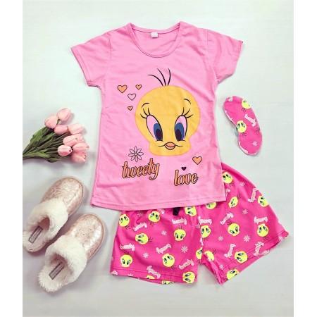Pijama dama scurta roz cu imprimeu Tweety